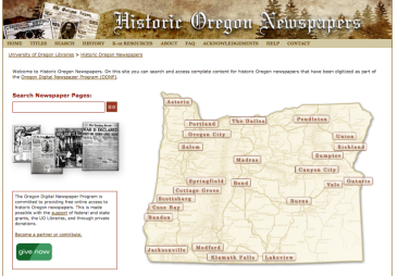 Historic Oregon Newspapers screen shot